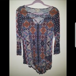 Asysemtrical Patterned Top